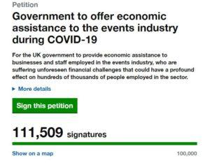 pétition pour le soutien économique de l'événementiel au Royaume-Uni réunit plus de 111500 signatures
